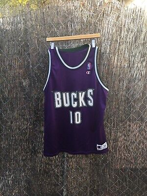 792991059 Rare 90s Milwaukee Bucks  10 Todd Day Champion Jersey Adult Sz 48 NBA  Basketball