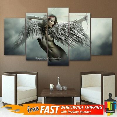 5 Pieces Home Decor Canvas Print Painting Wall Art Fantasy Angel Warrior Wing