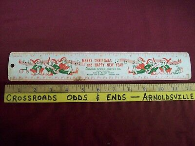 "Vintage metal 12"" advertising ruler Hudson Office Supply Dothan Alabama 1950's"