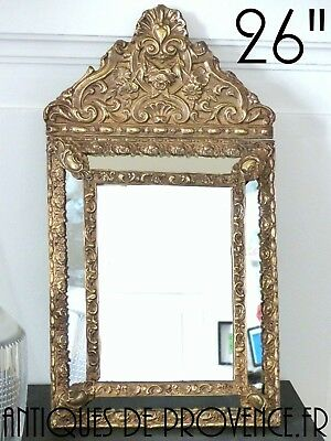 """26"""" Tall Antique 1880 Large French Mirror Brass Overlay Wood copper repousse"""