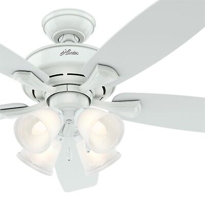 Hunter 52 Inch White Ceiling Fan With 4 Lights And 5 Snow Blades