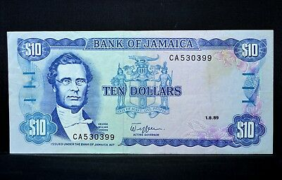 1989 Jamaica $10 ✪ Vf Very Fine ✪ Ef L@@k Now Scarce Note P-71 Bank ◢Trusted◣