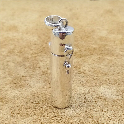 Sterling Silver Prayer Box Plain Cylinder Locket Pendant for Necklace
