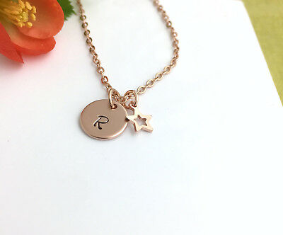 Children's Rose Gold Tone Personalised Initial Necklace with Star Charm Gift Box