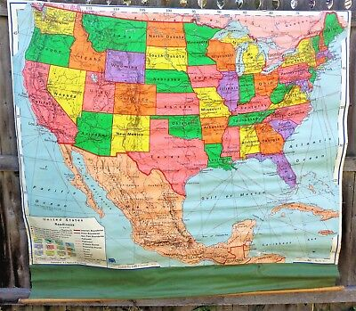 A. J. NYSTROM & Co Canvas Pull Down School Map UNITED STATES Political