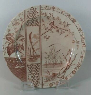 "Rare Antique Brown White Transferware Plate 10"" OSBORNE - Aesthetic Movement"