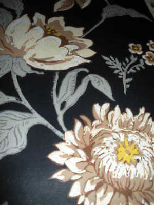 Ant. Vict. To 1920'S Black Big Floral  Wallpaper Roll,