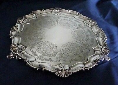 Ornate English Sterling Silver Salver by Edward Barnard & Sons London 1905
