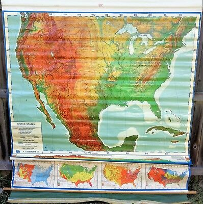 A. J. NYSTROM & Co Canvas Pull Down School Map UNITED STATES Sculptural Relief