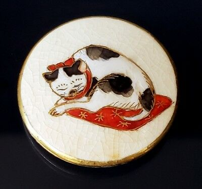 Antique Vintage Japanese Porcelain Satsuma Porcelain Button…Sleeping Cat…Signed
