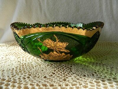 Vintage Large EAPG Emerald Green Glass Serving Bowl with Gold