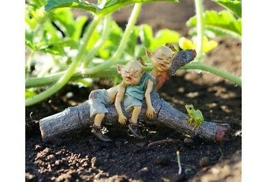 My Fairy Gardens Miniature - Twin Pixies Napping on Tree Log - Supplies Acces