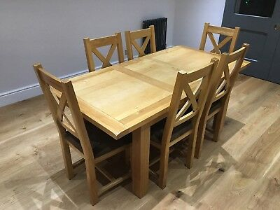 Solid Oak Dining Room Table And 6 Matching Solid Oak Chairs 820 00 Picclick Uk
