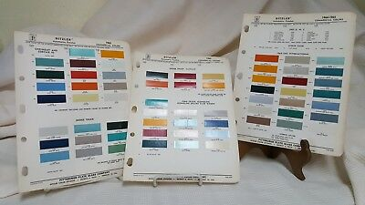 1964-1965 Ditzler PPG Commercial Truck Paint Color Chips Three Sheets  $Drop