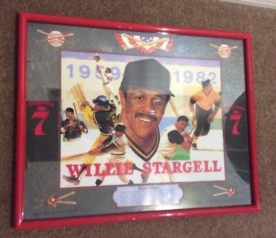 WILLIE STARGELL Mirror Seagrams 7 sign Tribute Vintage Mancave Bar
