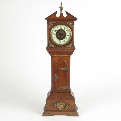 Antique miniature grandfather clock oak case