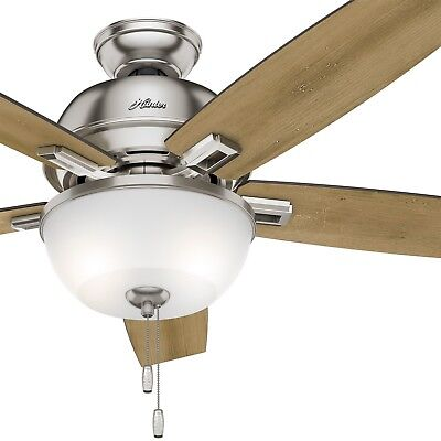 Hunter Fan 52 in. Ceiling Fan with Light and LED bulbs in Brushed Nickel