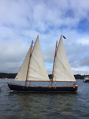 Traditional 21ft Wooden Day Sailor. Gaff-Gunter Rig. 10hp Yamaha. With Trailer