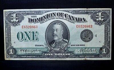 1923 $1 Dominion Of Canada ✪ Vf Very Fine ✪ Black Seal Group 4 Ottawa ◢Trusted◣