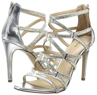 Aldo Liah Silver Diamante High Heel Bridal Occasion Sandals Shoes Size 3 6 7 8