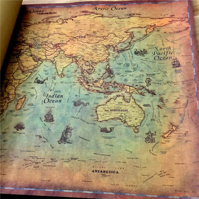 Classic World Map Traveller  Large Big Size Holiday Poster Wall Paper Gold New