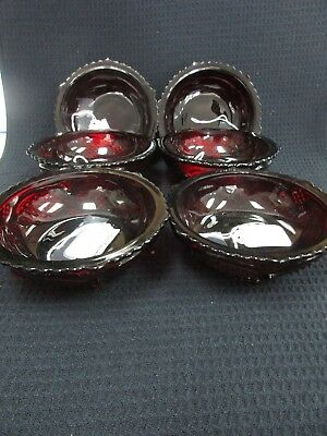 6 AVON 1876 Cape Cod Ruby Red Cranberry Glass Fruit Sauce Dessert Bowls