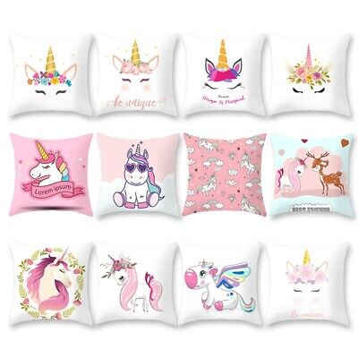 Unicorn Pillow Case Soft Polyester Sofa Cushion Cover Throw Kids Home Bed Decor
