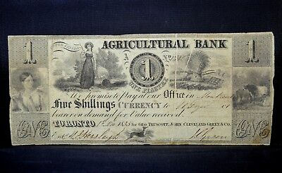 1835 1 Piastre Obsolete Bank-Note ✪ Agricultural Bank ✪ Toronto Canada ◢Trusted◣