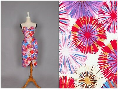 EUC Hearts & Found Pinup 50s Mad Men Two-Piece Playsuit White Fireworks Sz S