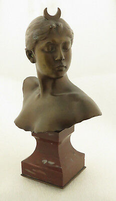 """Antique Signed French Bronze Bust Figure of Diane, """"Night Huntress""""."""