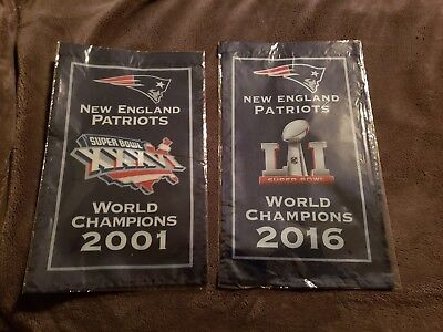 """New England Patriots Banners 2001&2016 World Champions 2 Banner Set 8.5""""x14"""" NEW"""