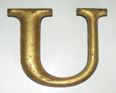 """Antique 6"""" Tall Alphabet """"u"""" Gold Painted Advertising Wooden Letter"""