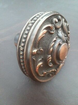 Antique Eastlake Victorian Brass Bronze Door Knob Beading on Edge