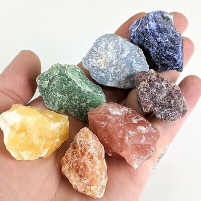 Chakra Set Angelite Lepidolite Crystal Natural Rough Stones Tourmaline Healing