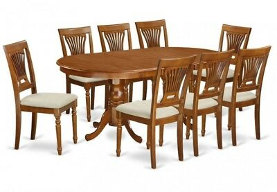 Dining Room Table Oval 8 Chairs Upholstered 9 PC Set Light Oak Family Eating
