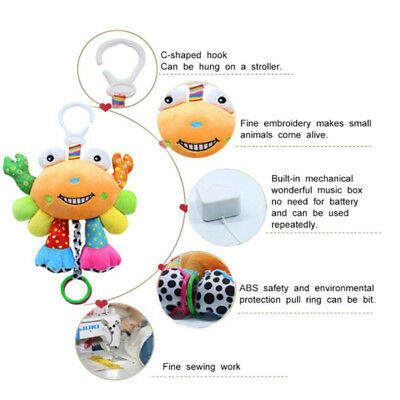 Colorful Crab Hanging Rattle Bed Stroller Teeth Musical Plush Doll for Baby N7