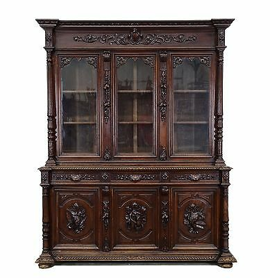 Large Antique French Carved Renaissance Hunt Style 6 Door Bookcase