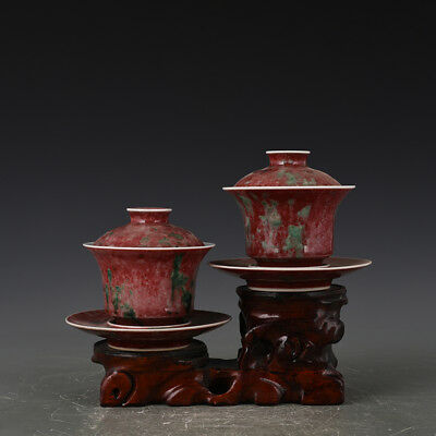 "4"" China old antique Porcelain Qing kangxi Cowpea red cover bowl Cup"