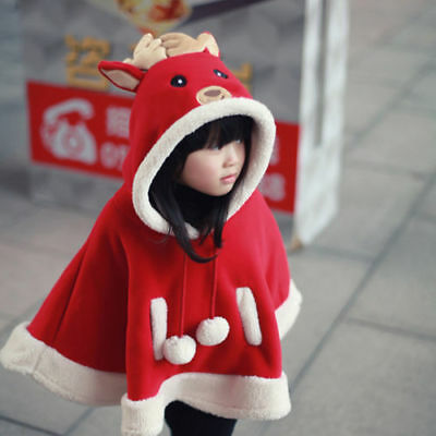 Christmas Deer Girl Kid Baby Hooded Warm Outwear Jacket Clothes Cloak Coat Cape.