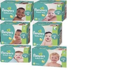 FREE SHIPPING PAMPERS Baby Dry Diapers Size 1, 2, 3, 4, 5, 6-U-CHOOSE SIZE-COUNT