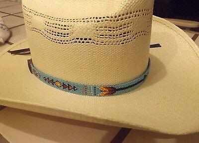 NATIVE Southwest  INDIAN BEADED HEAD OR HAT BAND W/ TWIN ARROWS PATTERNS