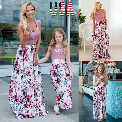 Mommy And Family Matching Floral Dress Mother Daughter Sundress For Kid Women