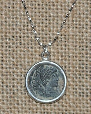 Emperor Valens Authentic Ancient Roman Empire Bronze Coin 925 Sterling Necklace