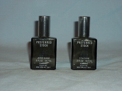Vintage Preferred Stock After Shave & Cologne Bottles .5 Ounce Coty NY Empty