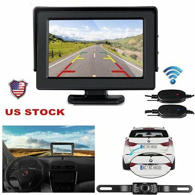 """4.3"""" LCD Monitor Wireless Vehicle Backup Camera Rear View System Night Vision MY"""