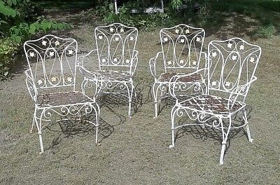 Vintage Set Of 4 Mid Century Heavy Wrought Iron Garden Patio Armchairs