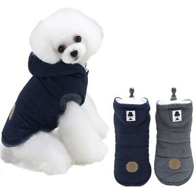 Pet Dog Cotton Padded Hooded Coat Small Puppy Warm Jacket Sweater Winter Apparel