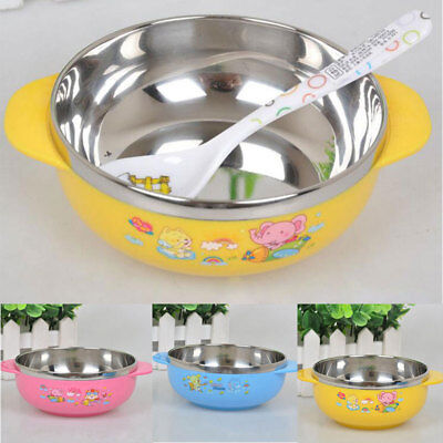 Cute Baby Kids Bowl Child Handle Nonslip With Stainless Steel