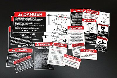 Bucket Truck Safety Decals kit 16 items at200a