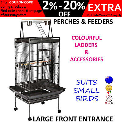 New SMALL PET BIRD AVIARY CAGE Parrot Budgie Finch Birdcage Large Perch Feeders